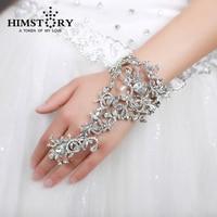 Luxus Voller Strass Braut Armbänder Hochzeit Blume Stil Armband Schmuck Mode Bling Hochzeit Zubehör