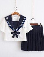 Short Sleeves School Uniform Sailor Dress Blue Plaid Skirt Japonais