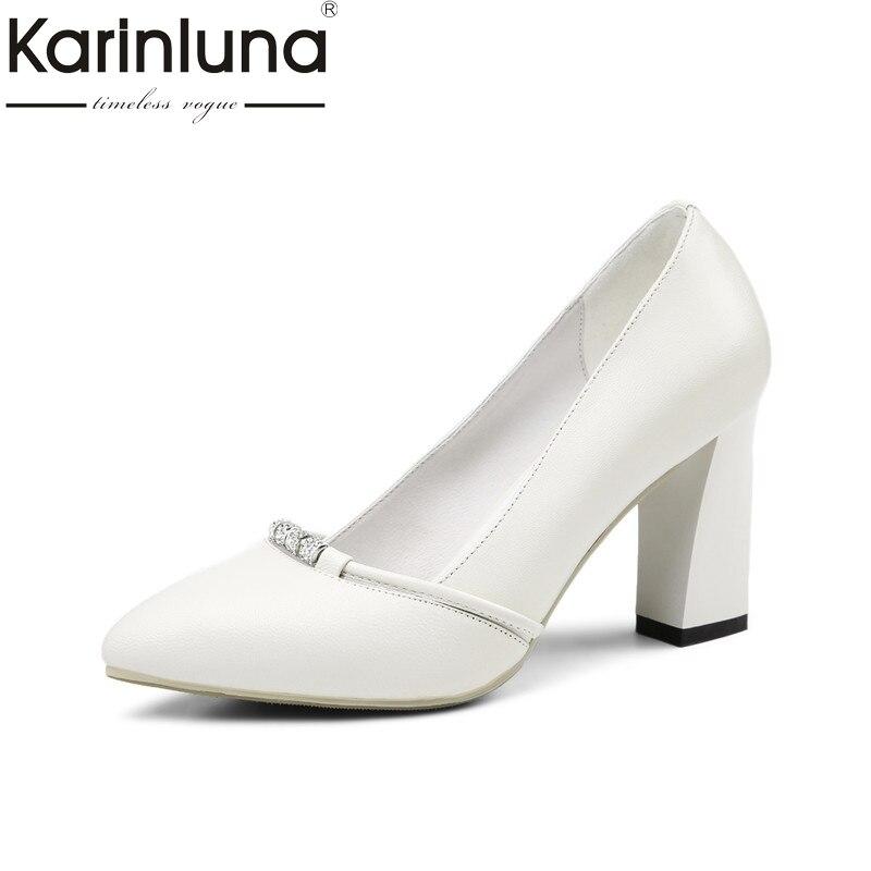 Karinluna 2018 Spring Autumn Elegant Women Genuine Leather Work Pumps Shallow High Heels Ol Shoes Woman Big Size 33-40 genuine leather women high heels pumps female ol comfortable black work shoes 32 33 40 41 42 43 44 sy 777