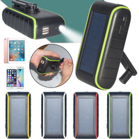 Hand Crank Solar Charger universal 6000mah solar powerbank new arrival product with solar panel and light Free shipping