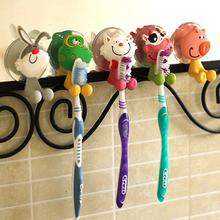 Animal Cute Cartoon Suction Cup Toothbrush Holder Hooks Bathroom Accessories Set Eco Friendly Wall Suction Holder
