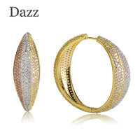 Dazz Big Earrings For Women Three Tone Color Ear Drops Copper Material CZ Stone Micro Pave