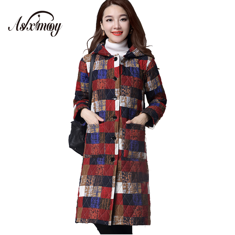 Asximooy 2017 New Fashion Winter Women Warm Loose Hooded Wadded Cotton-padded Medium-long Down Jacket Warm Female Lady's Outwear 2015 new mori girl wave raglan hooded loose sleeve medium long wadded jacket female