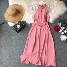 FMFSSOM Women Sexy Hanging Neck Dress 2020 New Summer Ladys O Neck Sleeveless With Belt Medium Long Slim Dresses