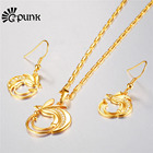 Bird of Paradise Earring Necklace Set Gold Color Indonesia PNG Jewelry Papua New Guinea women jewellery set S98G