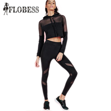 TOP Fashion 2 Pieces Set 2016 Black Mesh Patchwork Women Crop Tops Slim Sexy Leggings Suits Hooded Drawstring Pencil Pants