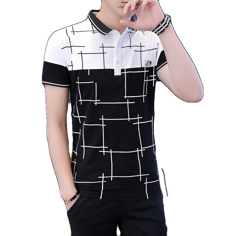 Summer High quality men brand   POLO   short sleeve shirt casual Solid   Polo   Shirt shirts undershirts Man's Printed plaid stitching