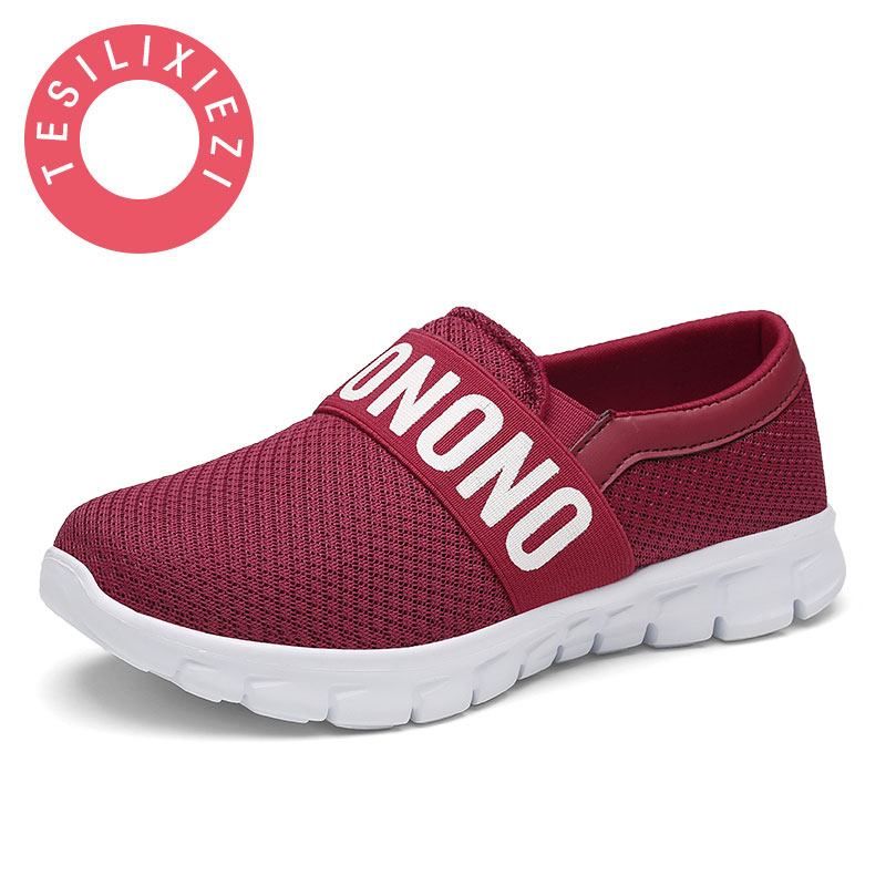 Women Casual Shoes 2017 New Arrival Women's Breathable Soft Sole Air Mesh Flats Shoes Female Slip on Plus Size 35 42 Light Shoe baby girl boy bling first walkers toddler soft sole sports shoes breathable children s anti slip shoe light cool summer new in