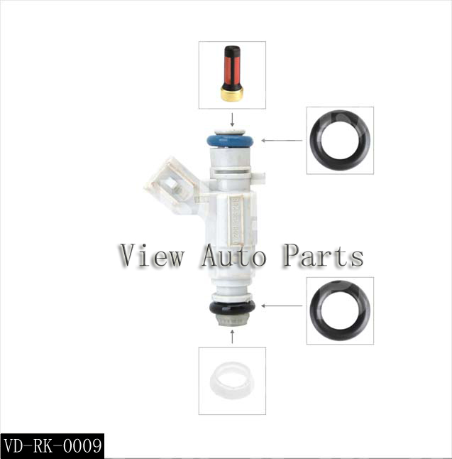 10 Sets Fit For Cadillac Car Fuel Injector Repair & Service Kits Including Filter Plastic Cap Viton O-rings Vd-rk-0009