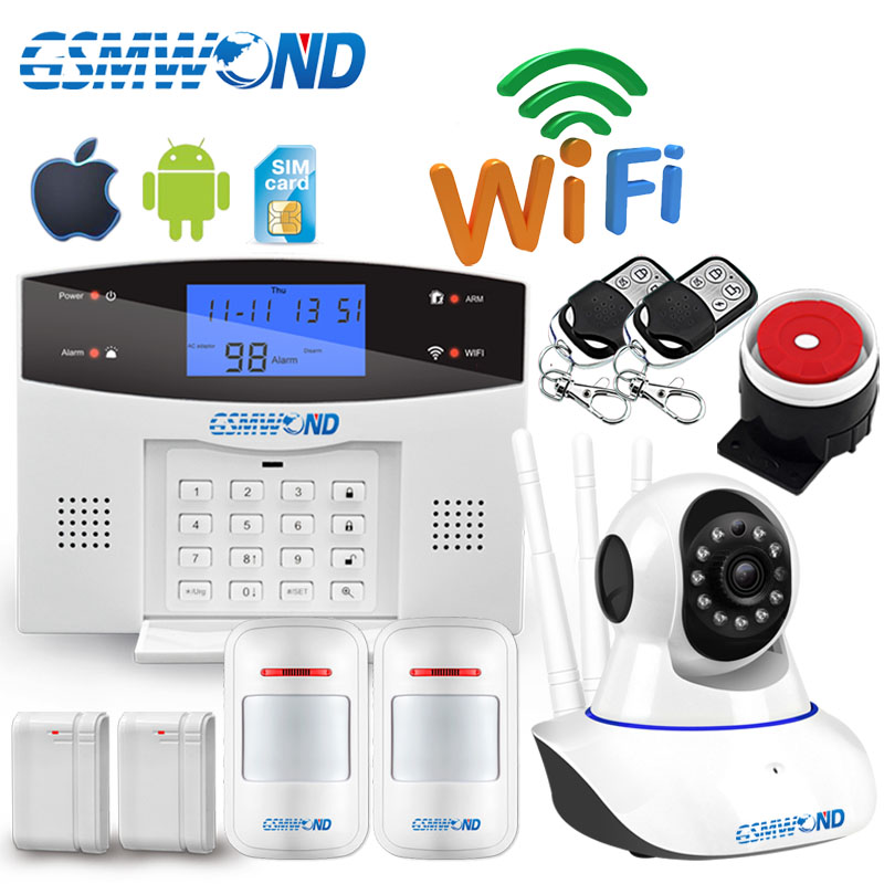 Wifi GSM PSTN Home Burglar Alarm System 433MHz Wireless Sensor Detector Security Alarm Automatic Dial Recording IOS Android APP
