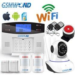 Wifi gsm pstn casa sistema de alarme do assaltante 433 mhz sem fio sensor detector alarme de segurança gravação discagem automática ios android app