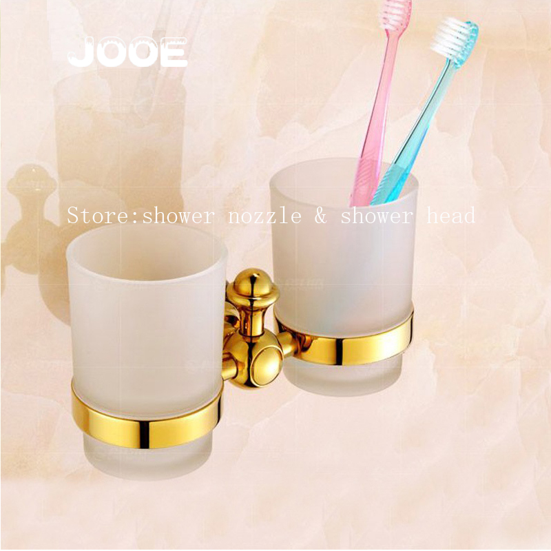 Jooe Double Cup Holder with Frosted glass cup Antique Bronze Classic wall mounted toothbrush holder copo bathroom accessories black oil rubbed bronze wall mounted toothbrush holder with two ceramic cups set bathroom accessories wba859