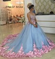 ZYLLGF Bridal 2017 New Ball Gown Arabian Lady Evening Party Dress Appliques Beaded Long Turkish Evening Gowns With Flowers TS6