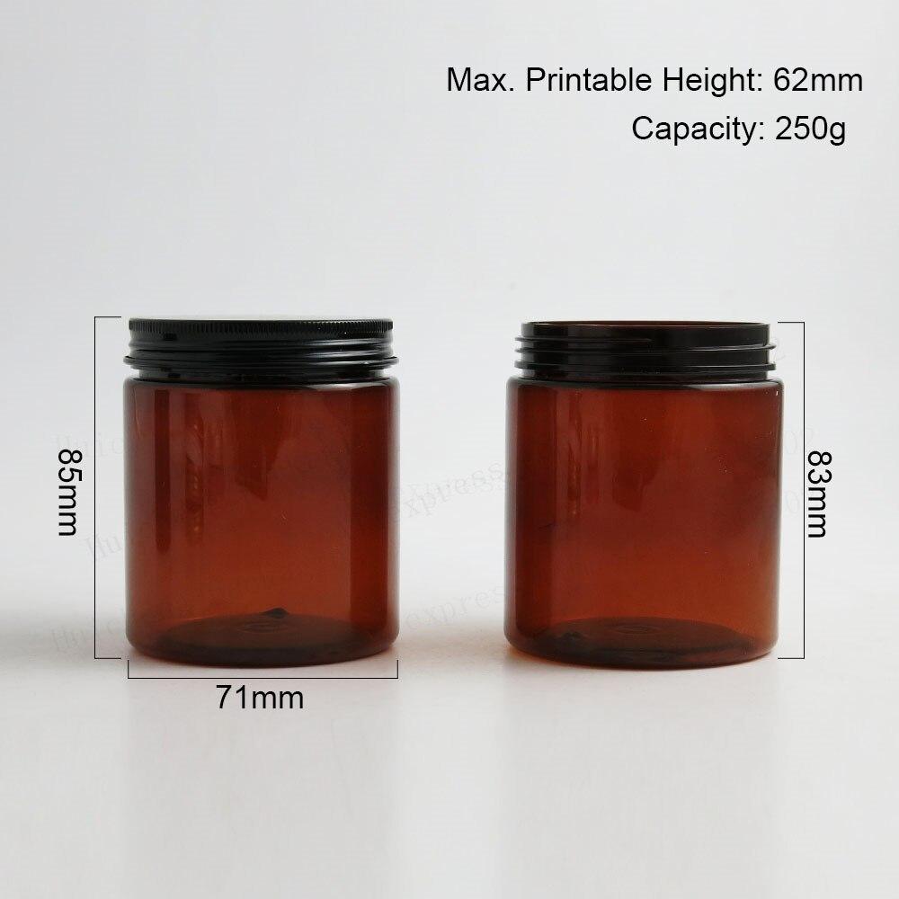 250 г большая пустая Янтарная баночка для косметического крема 250cc 8,3 oz коричневый ПЭТ Conatiner макияж инструменты алюминиевая крышка с PE Pad 20 шт