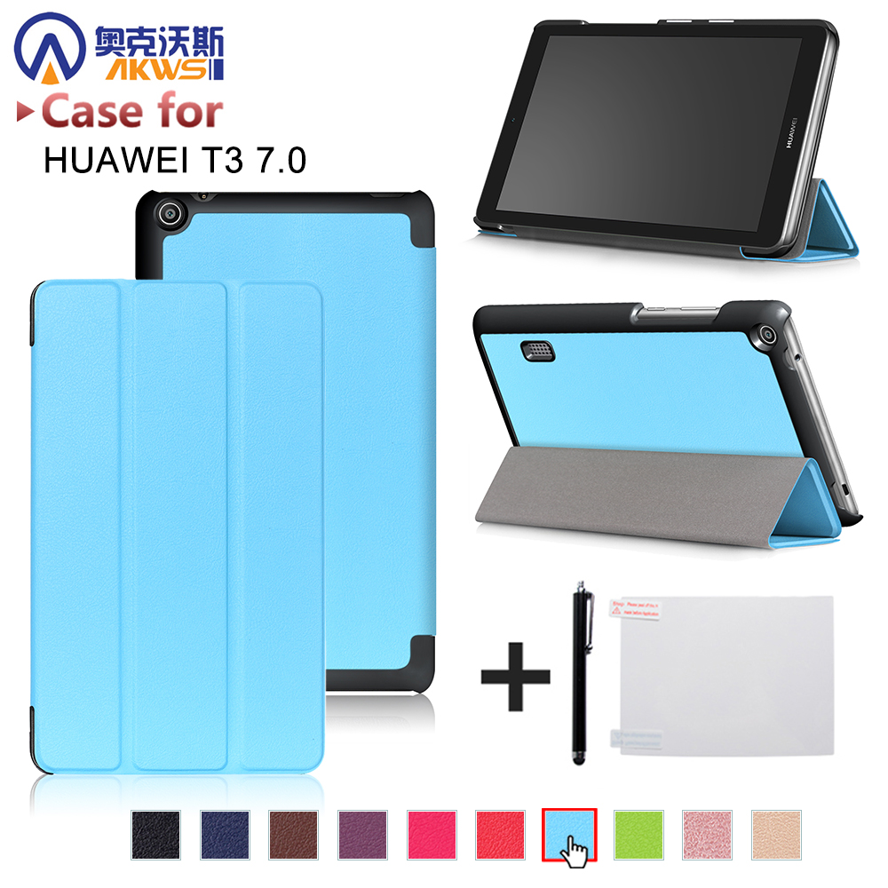 Folio slim cover case for Huawei MediaPad T3 7.0 BG2-W09 tablet for Honor Play Pad 2 7.0 protective cover skin +free gift folio slim cover case for huawei mediapad t3 7 0 bg2 w09 tablet for honor play pad 2 7 0 protective cover skin free gift