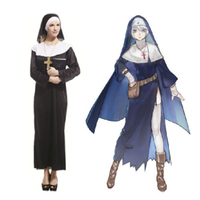 Halloween Cosplay The Virgin Mary Nun Minister Priest Christianity Adult Costume Robe Clothing Headscarf Costumes Suit for Women