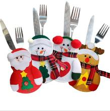 4pcs Merry Christmas Knife and Fork Bag Santa Claus Snowman Decorations for Home Happy New Year 2020 Navidad Decor