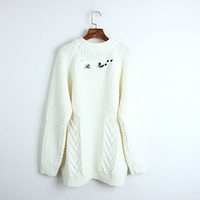 Runway Autumn 2018 fashion back letter sweater women Korea chic twist knitted white pullover jumper long Loose pull femme hiver