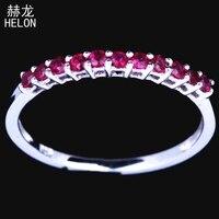Настоящее стерлингового серебра 925 Обручение Свадебные Юбилей 0.4ct 100% натуральная Рубин группа Половина Вечность леди ювелирные изделия бле