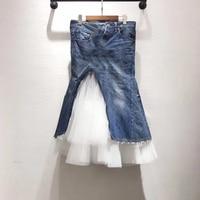 Модная Лоскутная юбка для женщин Летняя высокая Талия Джинсовая юбка высокого качества 2019 модная женская юбка