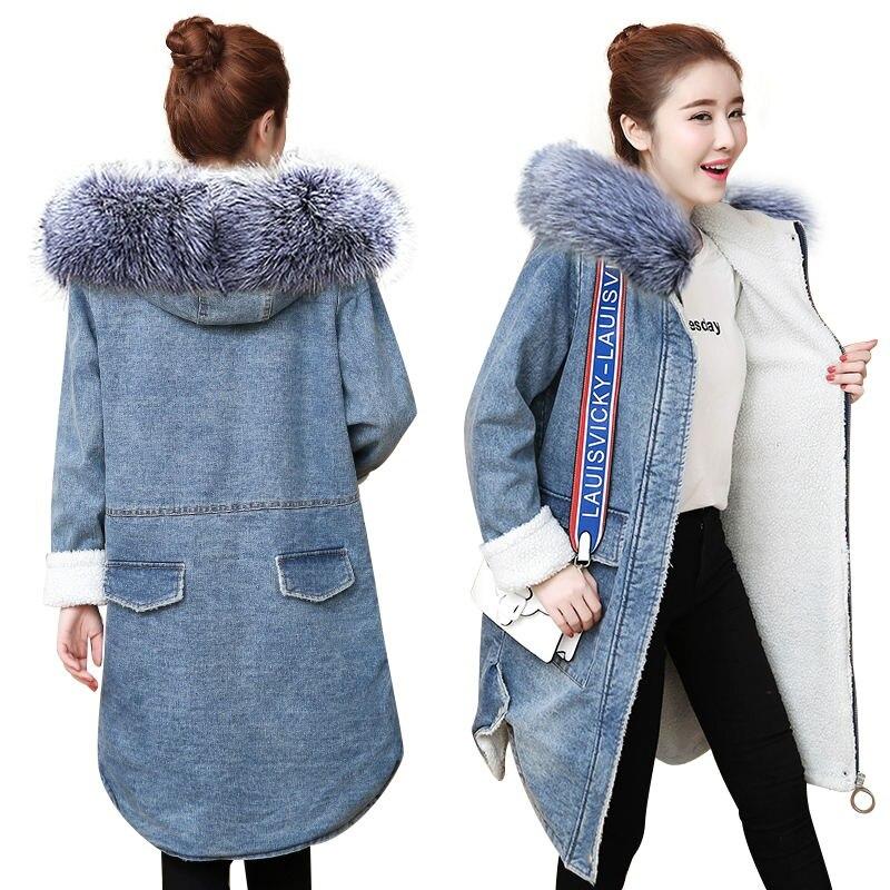 Warm wool lining Autumn winter denim jacket for women new 2019 European style women long coat Casual denim coat chaqueta mujer denim