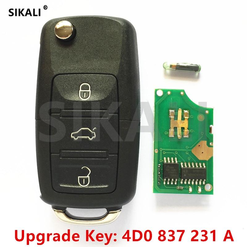 SIKALI Auto Funkschlüssel für Audi 4D0837231A A3 A4 A6 A8 RS4 TT Allroad Quttro RS4 4D0 837 231 Eine 1995-2005