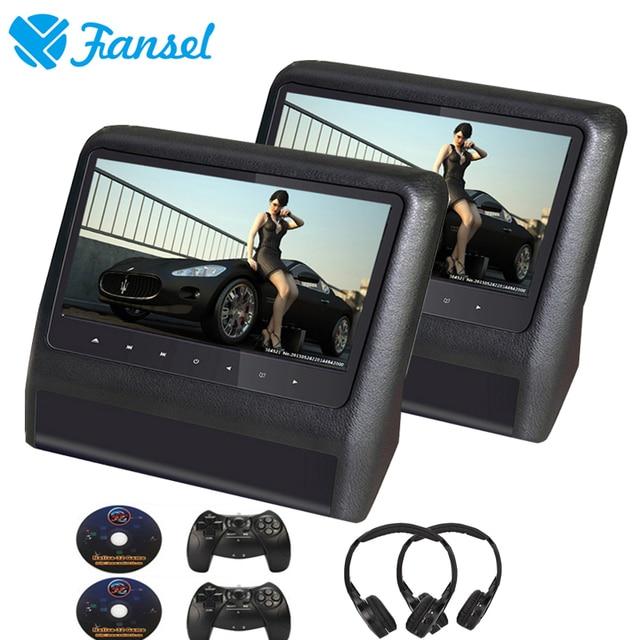 Fansel 2 шт. 9 дюймов подголовник автомобиля DVD Мониторы видео ЖК-дисплей Экран плеер USB/SD/IR/FM передатчик/Динамик/игры/Дистанционное управление/геймпад