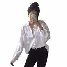 Long Sleeve Woman blouse White shirt Ladies Pocket Shirt Wom