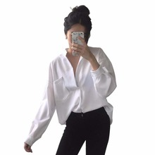 Long Sleeve Woman blouse White shirt Ladies Pocket Shirt Women Casual Tops Plus Size Elegant Female Blouse