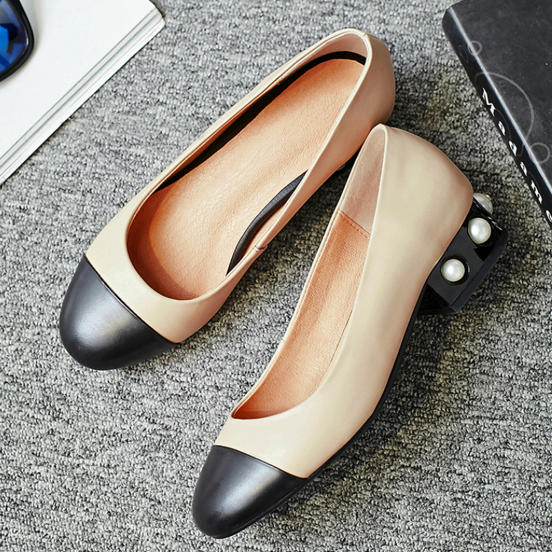 ФОТО 2017 New Fashion Brand Shoe Large Size Pearl Shallow Round Toe Mixed Colors High Heels Women Pumps Party Office Lady Shoes 03