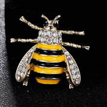 Yellow Enamel bee brooches jewelry for men fashion Women Gold Color Crystal Alloy Brooch Pins Coat Hats Clips Accessories(China)