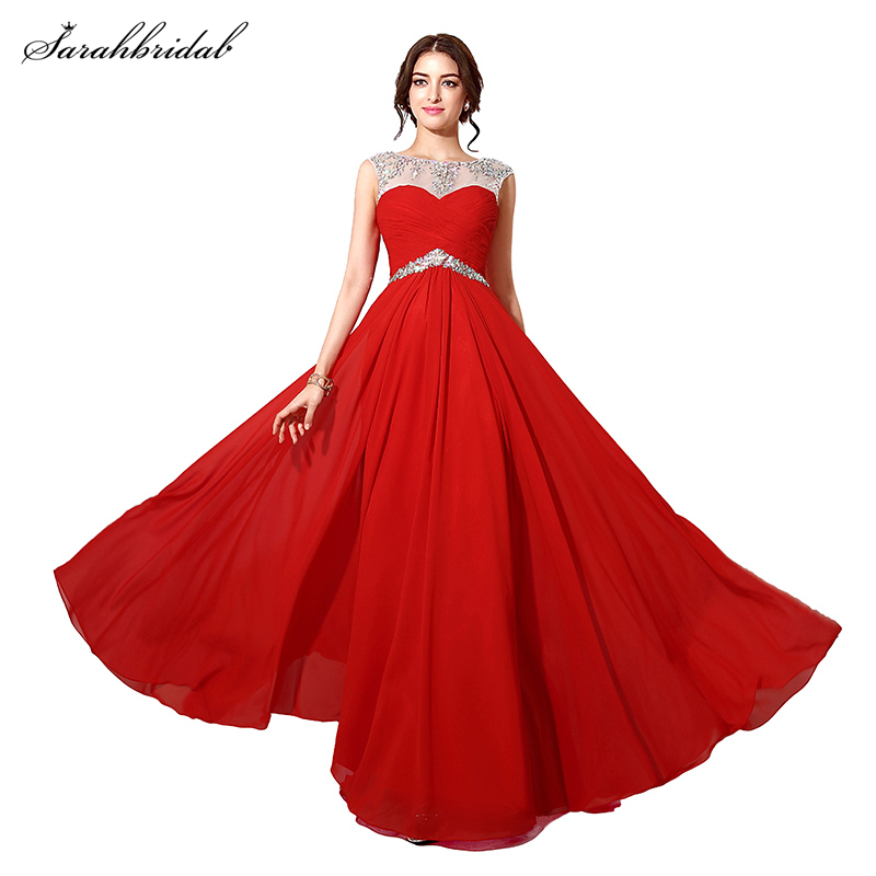 In Stock Elegant Long Crystal Red Chiffon Formal Prom Dresses With ...