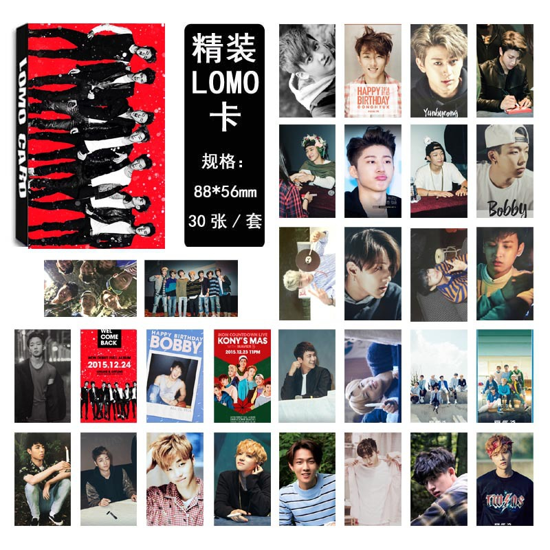 [MYKPOP] iKON LOMO Cards New Fashion K-POP <font><b>Kim</b></font> Han Bin <font><b>Kim</b></font> Jin Hwan Paper Photo Card HD Photocard SA18030401 image
