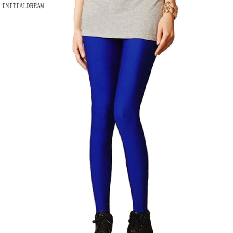 2018 Nők vékony spandex Leggings Tömör cukorka szín Neon leggings Kaland idő Vékony magas rugalmas női nadrág nadrág