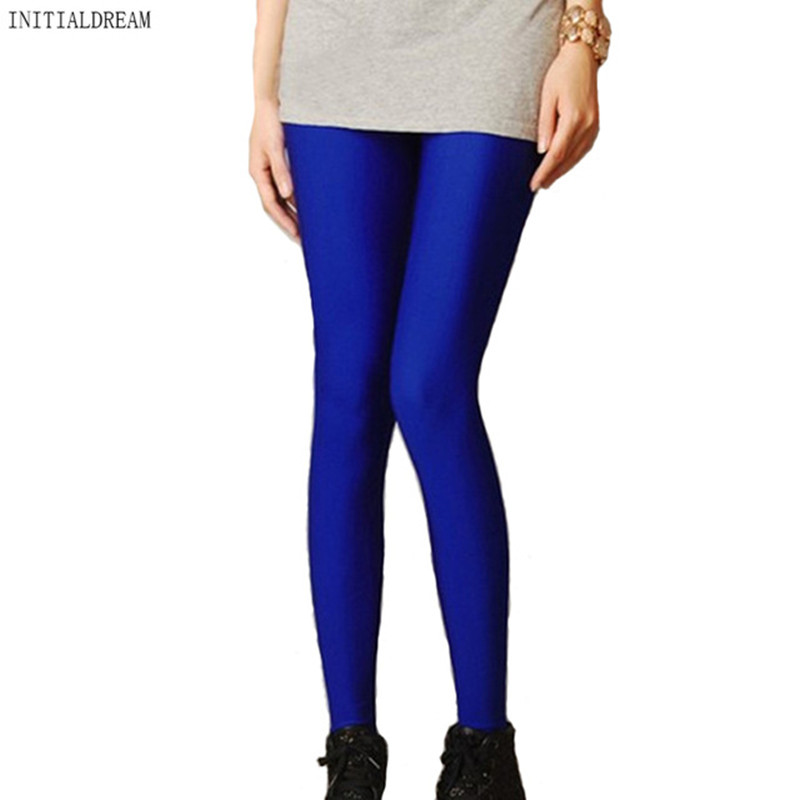 2018 Women Slim spandex Leggings Solid Candy Color Neon Leggings Adventure Time Skinny High Elastic female Pants leggins