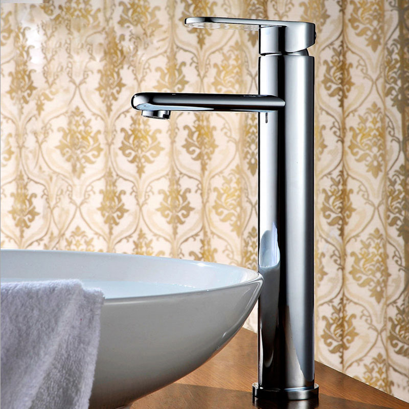 Bathroom Sink Faucets Brass  Hot And Cold  Control Basin Faucets Mixer Tap torneira do banhe Chrome Surface Contemporary hpb smooth surface tall brass bathroom basin faucet hot and cold water single hole sink tap mixer torneira hp3131
