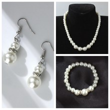 High quality European and American classical shambhala crystal pearl necklace earrings set wholesale(China)