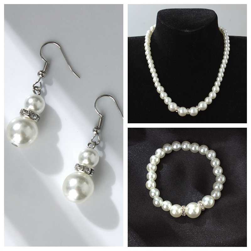 High quality European and American classical shambhala crystal pearl necklace earrings set wholesale
