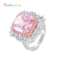 Rainbamabom 925 Sterling Silver Pink Sapphire Gemstone Birthstone Wedding Engagement Couple Ring Diamonds Band Jewelry Wholesale