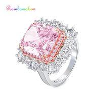 Rainbamabom 925 Sterling Silver Pink Sapphire Gemstone Birthstone Wedding Engagement Couple Ring Diamonds Band Jewelry Wholesale