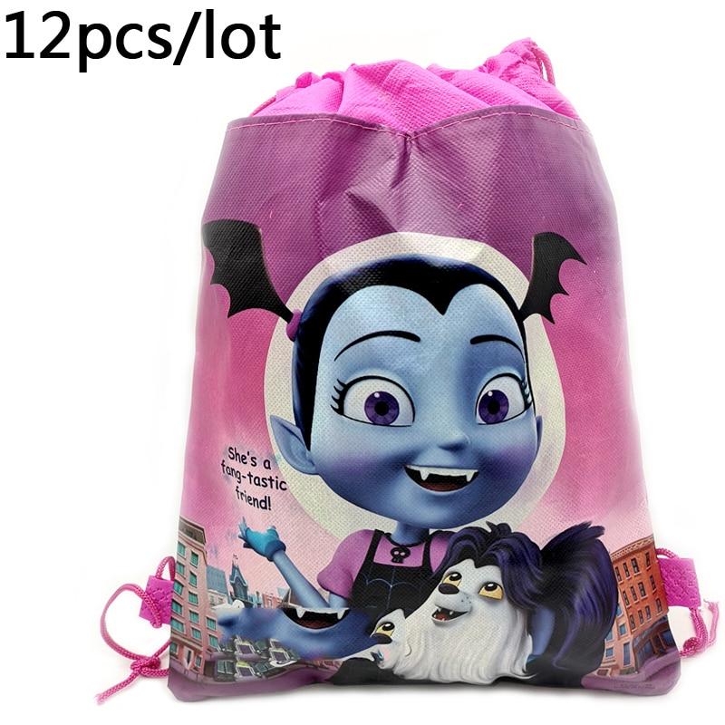 12pcs/lot Baby Shower Kids Favors Drawstring Gifts Bags Vampirina Theme Non-woven Fabric Backpack Happy Birthday Party Mochila