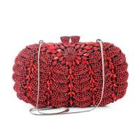 Gratis Verzending Dames Luxe Kristal Clutch Zusters Party Vrouwen Avond Handtassen Rood Goud Multi Kleur (8792A-R)