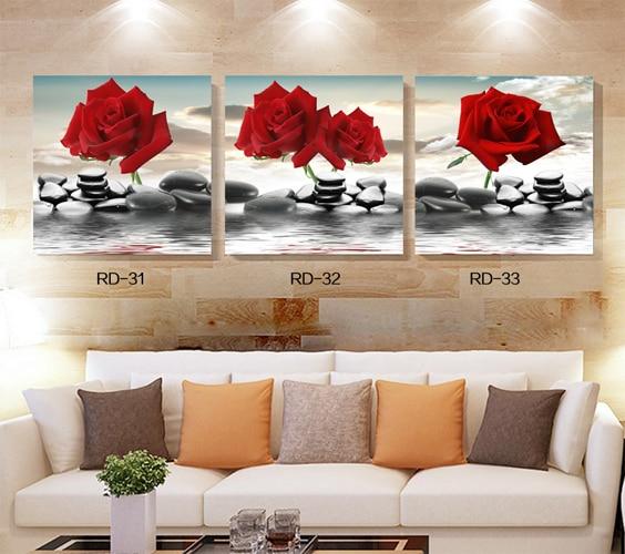 2017 Nouvelle Année Décoration Toile Peinture Moderne Rouge Rose Fleurs Mur  Photos Pour Salon De Noël Conception Modulaire Photos Dans Peinture Et ...