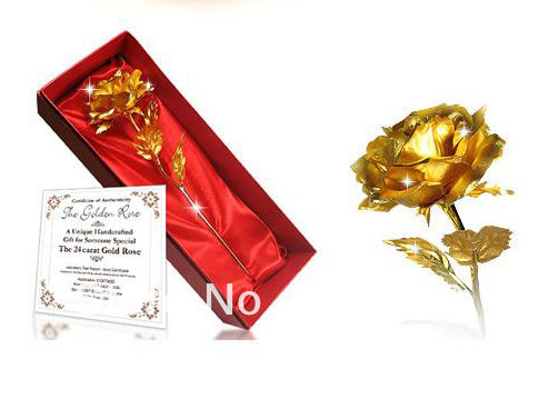 Free Shipping 19cm Valentine Gift 24k Gold Rose Gold Flower Dipped