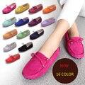 16 Цвет Летние Женщины Обувь Из Натуральной Кожи Повседневная Обувь Мода боути Мягкие Низкие Мокасины Скольжения На Женщин Квартиры Замши Вождения обувь