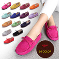 16 Color Summer Women Shoes Genuine Leather Casual Shoes Fashion Bowtie Soft Low Loafers Slip On Women Flats Suede Driving Shoes