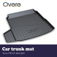 Overe 1 Conjunto Carga Do Carro mat tronco traseiro Para VW CC 2018 2019 Estilo Anti-slip mat tapete Impermeável boot Forro Tray acessórios Do Carro