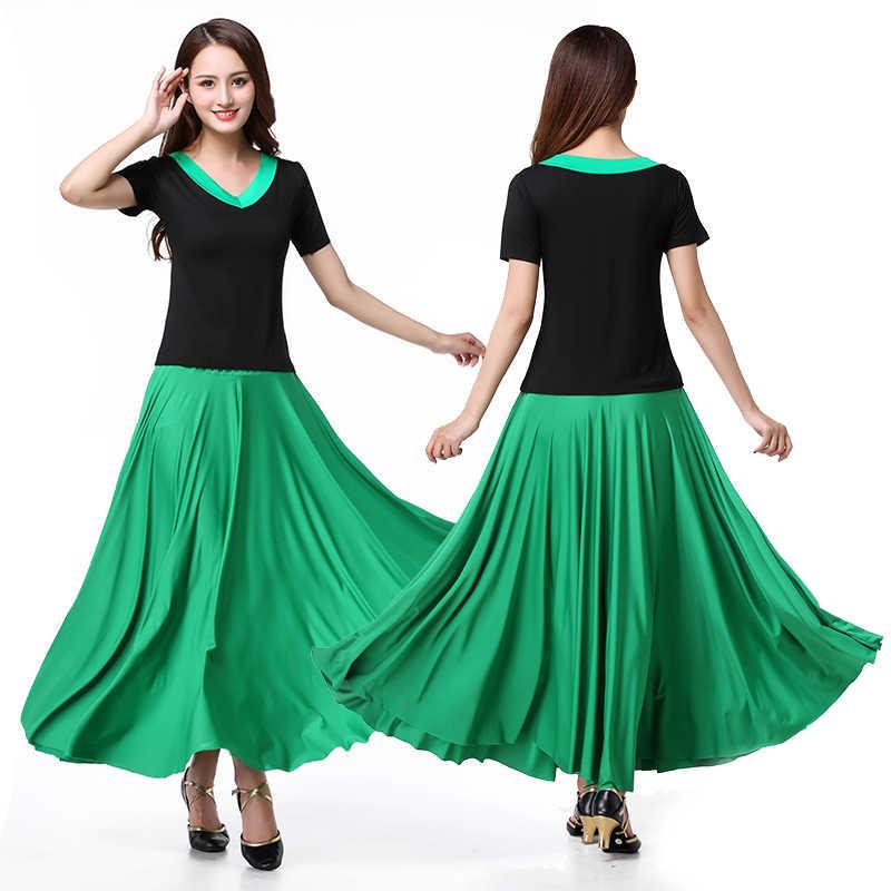 Jupe longue carrée et nouvelle jupe mi-longue pour la danse sociale Costume de danse nationale printemps et été