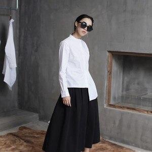 Image 2 - [Eem] yüksek kalite 2020 bahar Hem kat eklenmiş düzensiz ince rahat uzun kollu o boyun gömlek moda yeni kadın bluz LA315