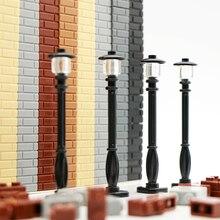Klocki budowlane miasto światła uliczne lampy drogowe przyjaciele dom akcesoria ścienne kawałki Mni zabawki cegły wojskowe